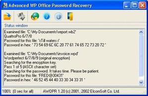 Advanced WordPerfect Office Password Recovery, recuperar senha
