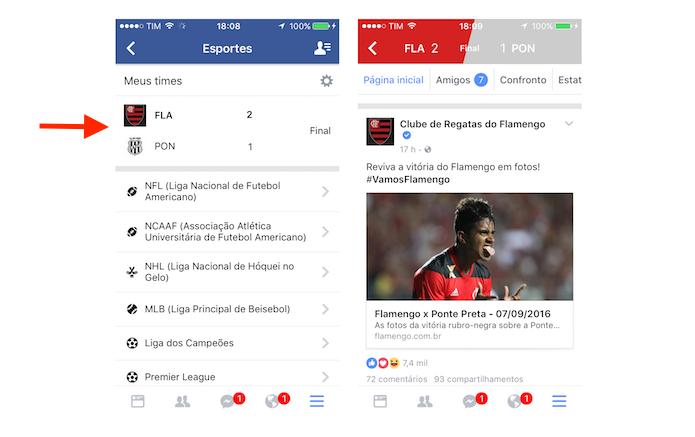 Página de informações sobre uma partida de futebol no Facebook para iPhone (Foto: Reprodução/Marvin Costa)