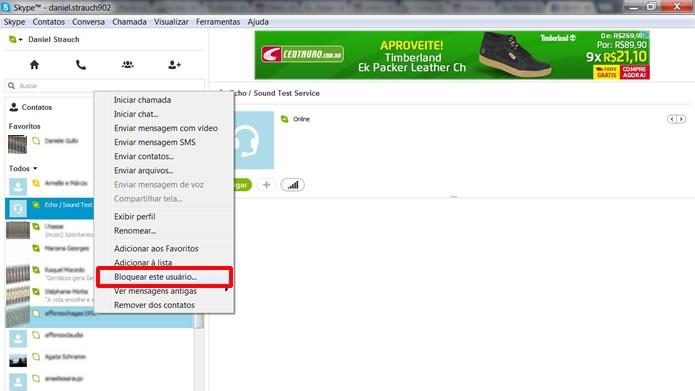 Aperte com o botão direito do mouse sobre o usuário que você deseja bloquear e clique na alternativa em destaque (Foto: Reprodução/Daniel Ribeiro)