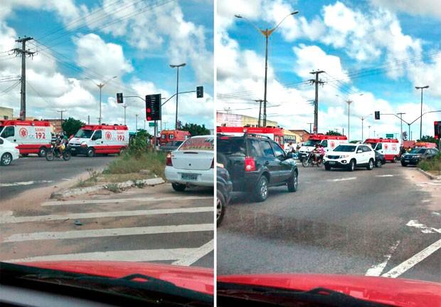 Ambulâncias do Samu e do Corpo de Bombeiros prestaram socorro às vítimas do acidente na BR-101, em Parnamirim (Foto: Lamonier Araújo/Inter TV Cabugi)