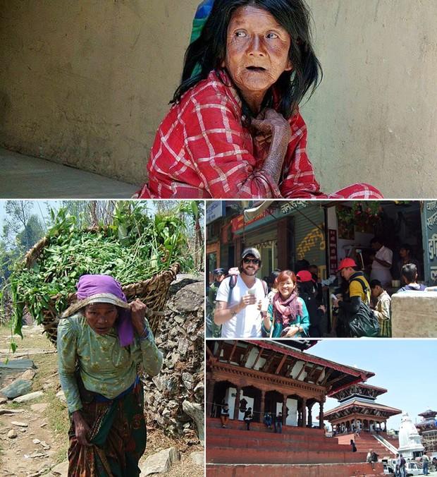 Montagem mostra expressão de moradores locais, mercado e tempos destruídos por tremores no Nepal (Foto: Arquivo Pessoal)