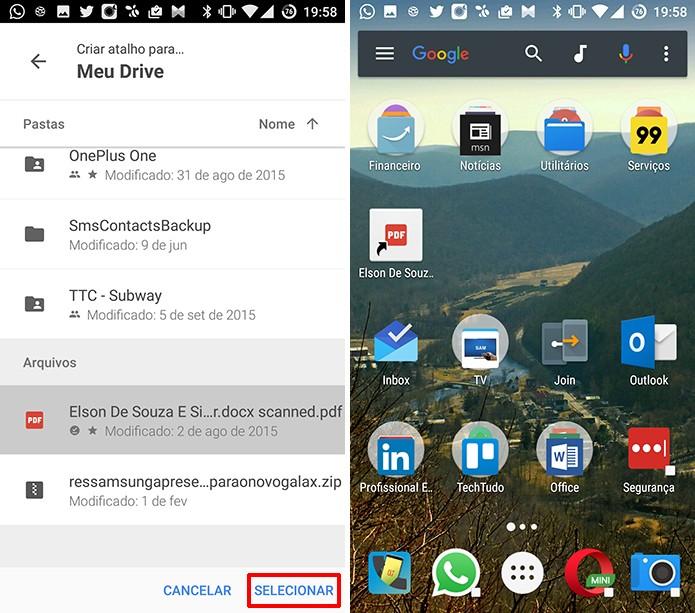 Toque no arquivo do Google Drive para qual deseja criar um atalho no Android (Foto: Reprodução/Elson de Souza)