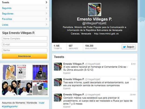 Mensagem do ministro de Informação e Comunicação, Ernesto Villegas, sobre a decisão de não embalsamar corpo de CHávez (Foto: Reprodução)