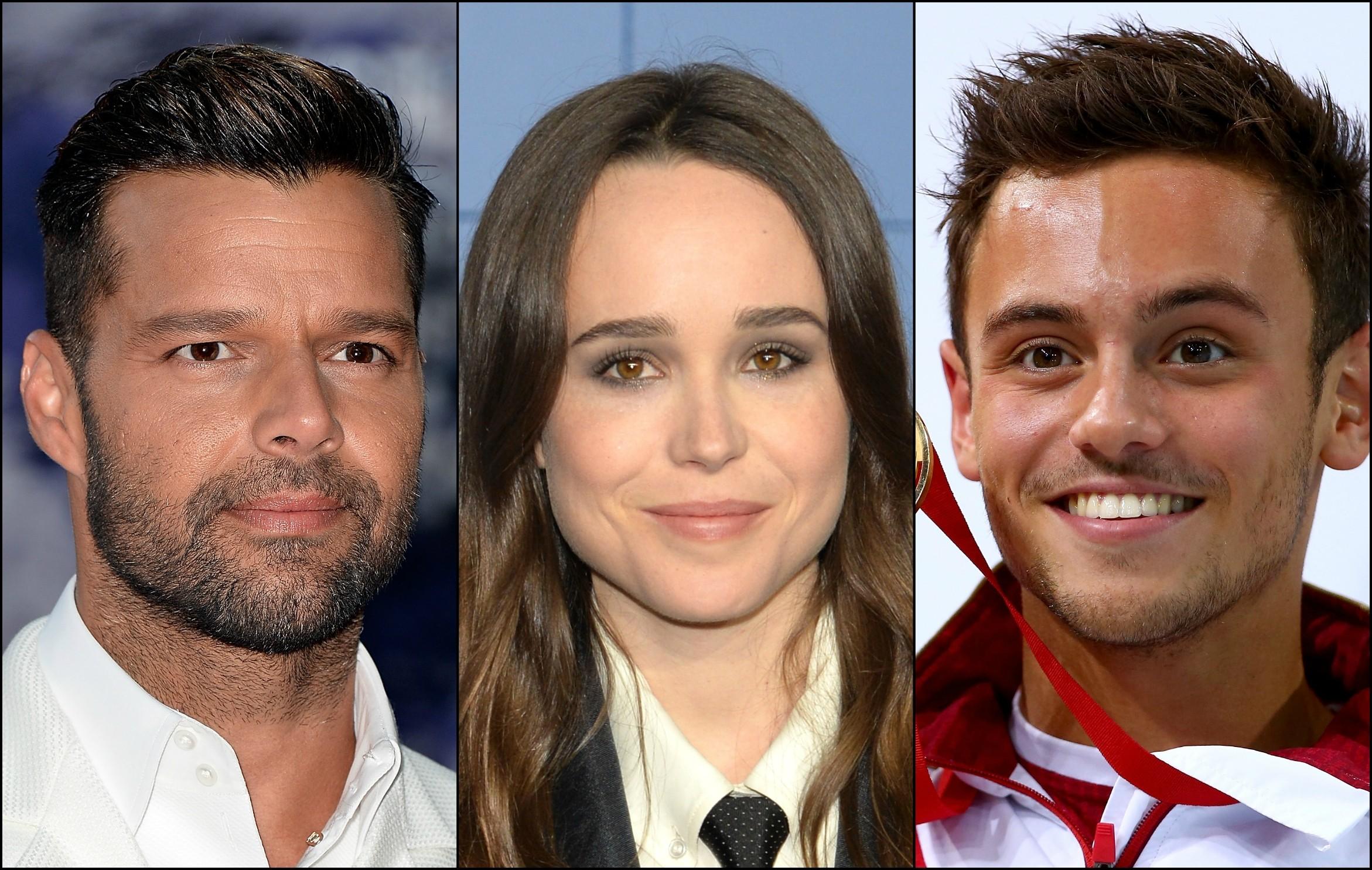 O cantor Ricky Martin, a atriz Ellen Page e o atleta olímpico Tom Daley não têm nada a esconder. (Foto: Getty Images)