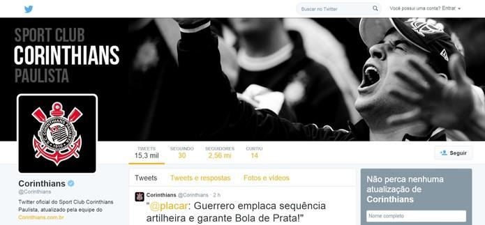 Corinthians é o único clube brasileiro entre os 10 times mais seguidos do Twitter (Foto: Reprodução/Twitter)