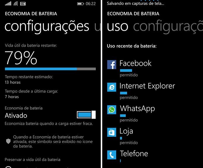 Windows Phone traz modo de economia de energia que ajuda a gerenciar o recurso no smartphone (Foto: Reprodução/Elson de Souza)