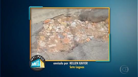 Moradora reclama de buracos em avenida de Sete Lagoas, na Região Central de MG