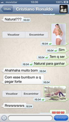 Troca de mensagens entre Andressa Urach e Cristiano Ronaldo (Foto: Reprodução)