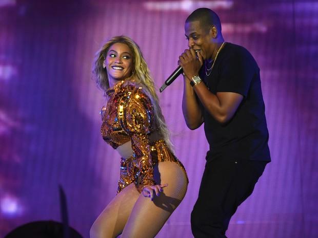 Beyoncé e Jay-Z em show em Nova Jersey, nos Estados Unidos (Foto: Larry Busacca/ Getty Images/ AFP)