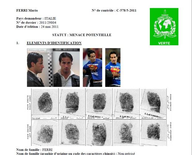 Ficha do italiano Mario Ferri na Interpol (Foto: Reprodução)