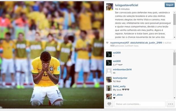 Luiz Gustavo comenta corte da Copa América