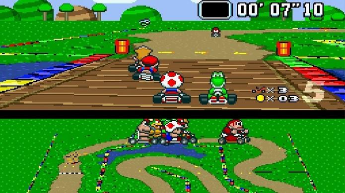O eterno Super Mario Kart retorna do Super Nintendo para o New Nintendo 3DS (Foto: Reprodução/Crave Online)