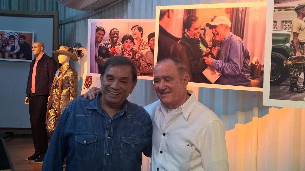 Dedé Santana e Renato Aragão no lançamento da nova série. (Foto: Carlos Brito)