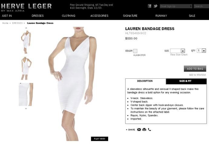 vestido Fernanda Lima herve leger (Foto: reprodução site herve leger)