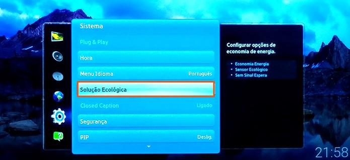 Selecione o recurso de Solução Ecológica na Smart TV Samsung (Reprodução/Barbara Mannara)