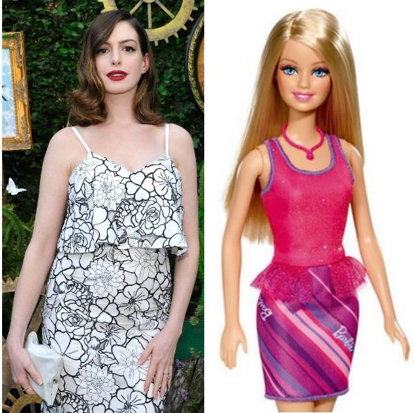 A atriz Anne Hathaway e a personagem Barbie (Foto: Getty Images/Reprodução)
