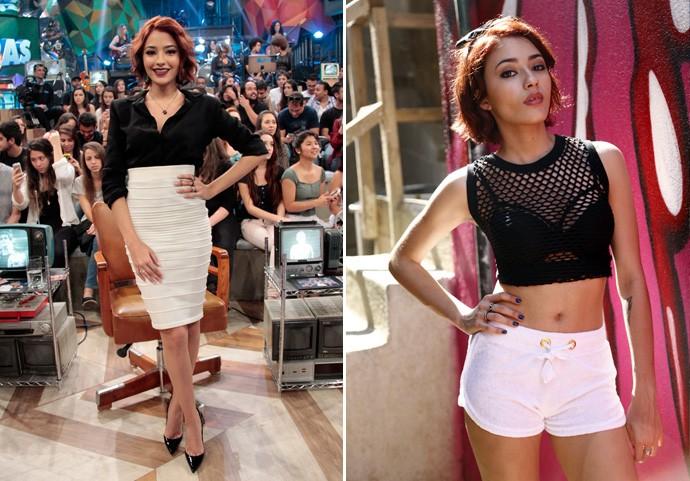 Compare o estilo de Carolina Oliveira e da personagem Natasha (Foto: Marcos Mazini/Gshow e Raphael Dias/Gshow)