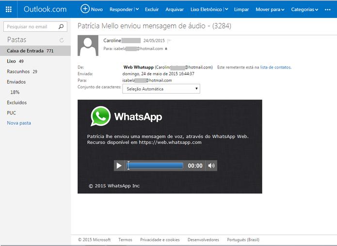 E-mail com mensagem de voz do WhatsApp distribui Trojan bancário para Windows (Foto: Reprodução/Isabela Giantomaso)
