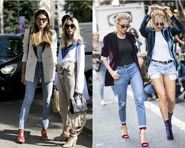 As fashionistas variam tecidos e padronagens no blazer para compor o look (Foto: Imaxtree)