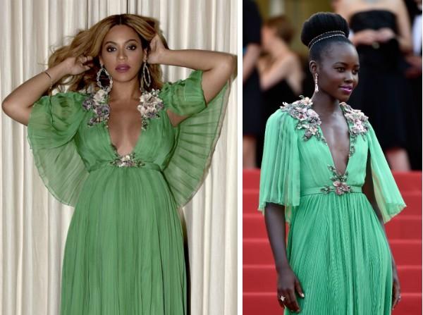 Beyoncé e Lupita Nyong'o com o mesmo vestido (Foto: Reprodução/Getty Images)