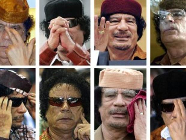 Imagens mostram o ex-ditador Muammar Kadhafi em vários momentos. (Foto: AFP)