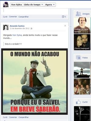 Página do Von Sylva no Facebook (Foto: Reprodução)