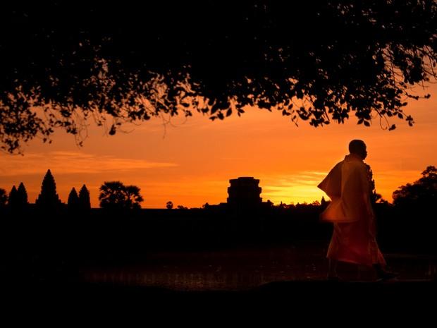 """No Camboja, leitor registrou nascer do sol no Angkor Wat, """"um dos maiores templos do mundo"""". (Foto: Rafael Koch Rossi/VC no G1)"""