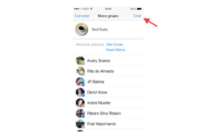 Criando um grupo a partir de um chat no Facebook Messenger para iOS (Foto: Reprodução/Marvin Costa)