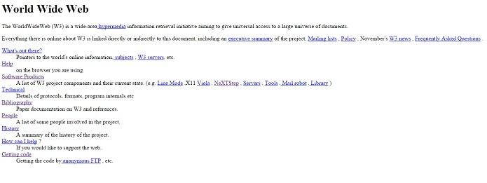 Primeiro site acessível na internet (Foto: Reprodução/Gabriel Ribeiro)