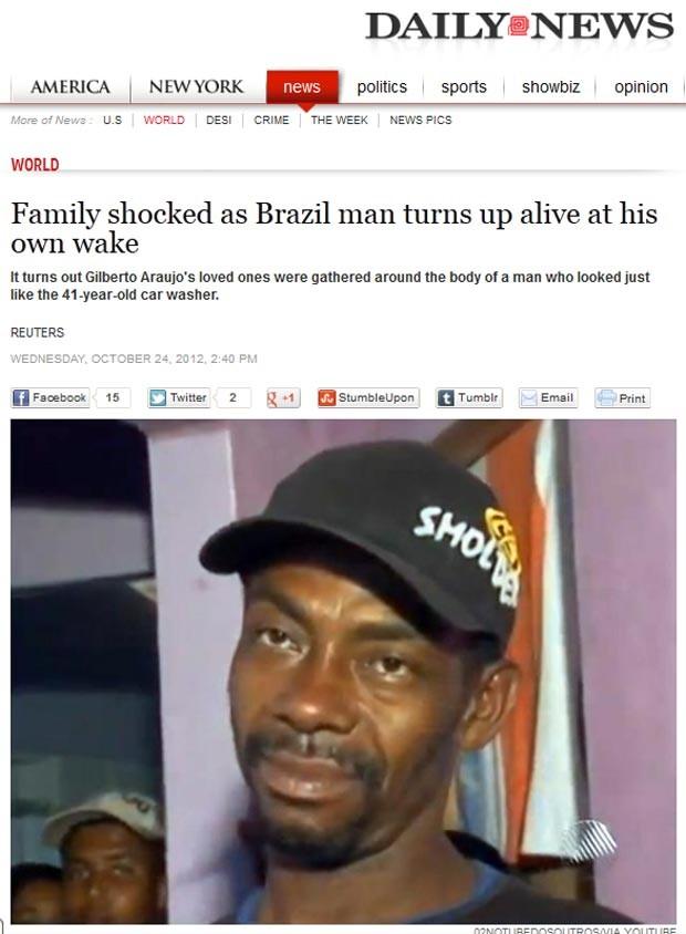 'Família chocada quando homem aparece vivo no próprio velório', diz reportagem do 'New York Daily News' (Foto: Reprodução)