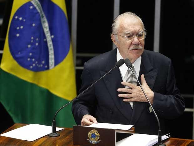 José Sarney faz discurso de despedida como senador no plenário do Senado (Foto: Dida Sampaio / Estadão)