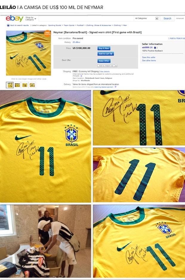 468ce86da1 Vendedor pede R  222 mil por suposta camisa da estreia de Neymar em ...