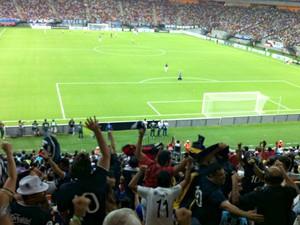 Inauguração ocorreu com jogo teste entre Nacional (AM) e Remo (PA) (Foto: Patrick Mota/Rádio Amazonas FM)