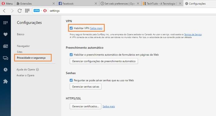 Ative o recurso de VPN no navegador Opera (Foto: Reprodução/Barbara Mannara)