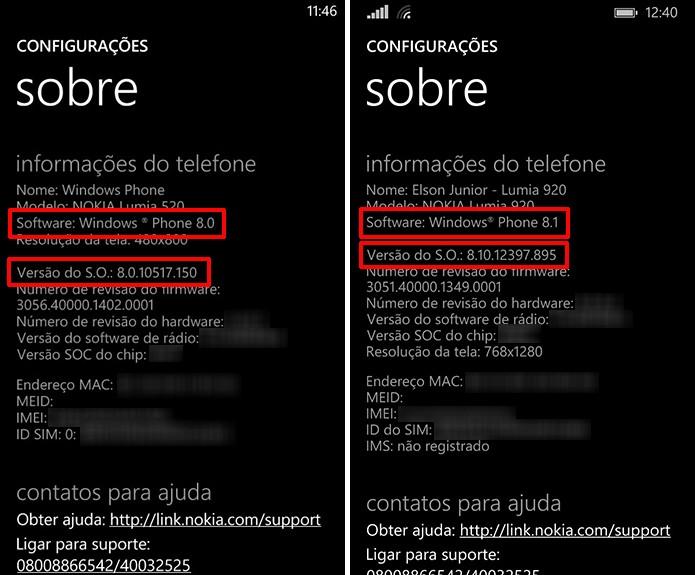 Windows Phone exibe versão e outros detalhes do aparelho nas configurações do telefone (Foto: Reprodução/Elson de Souza)