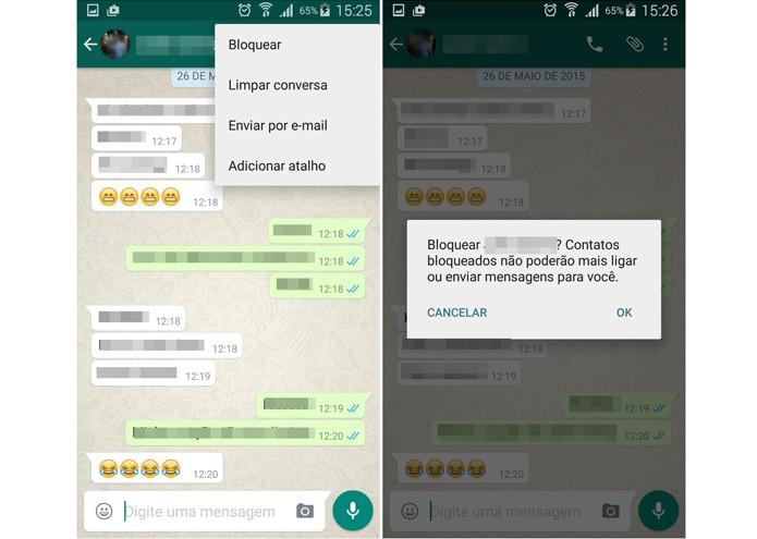 Bloqueando um contato no WhatsApp (Foto: Reprodução/Lívia Dâmaso)