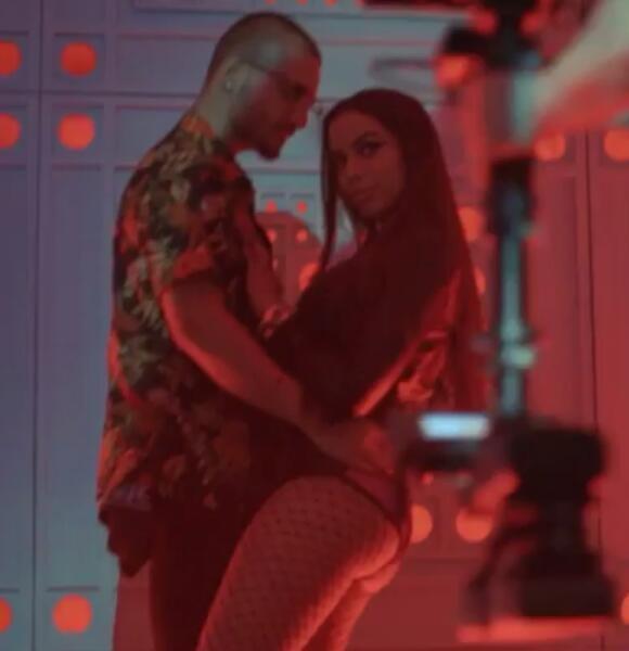 Bastidores do clipe mostram cenas sensuais entre Maluma e Anitta (Foto: Reproduo)
