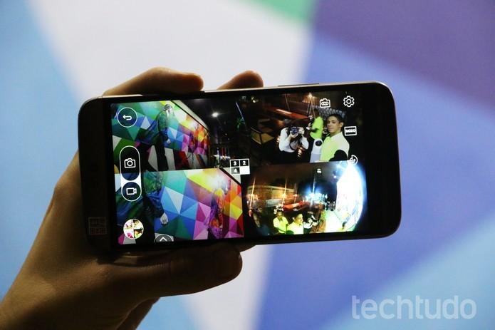 LG G5 SE tem sistema triplo de câmeras, com duas na traseira (Foto: Luciana Maline/TechTudo)