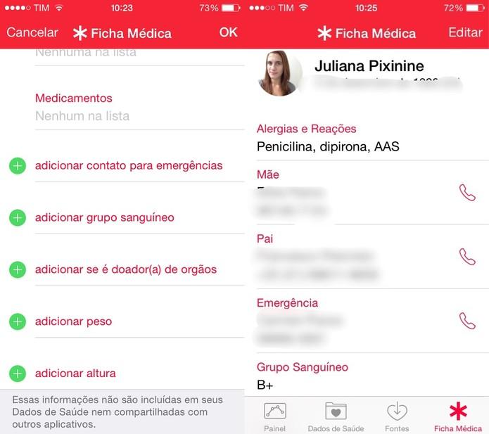 Preencha as informações para criar seu ID médico (Foto: Reprodução/Juliana Pixinine)