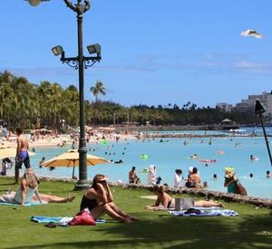 Imagina você cuirtindo essa praia maravilhosa? - Havaí! (Foto: Caldeirão do Huck/ TV Globo)