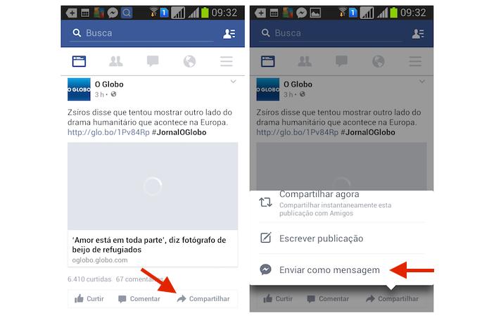 Iniciando o compartilhamento de um postagem do Feed do Facebook com um contato do Messenger pelo Android (Foto: Reprodução/Marvin Costa)