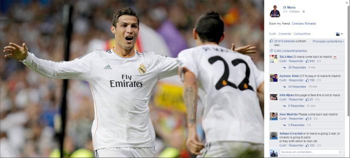 """BLOG: Di María aquece rumores sobre ida de Cristiano Ronaldo ao PSG: """"Em breve"""""""