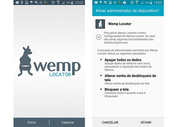 App Wemp é bem completo e oferece backup e localização em caso de perda do Android (Foto: Reprodução/Barbara Mannara)