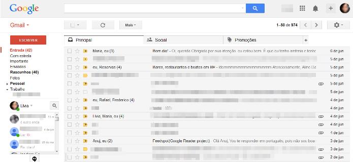 Caixa de entrada do Gmail (Foto: Reprodução/Lívia Dâmaso)