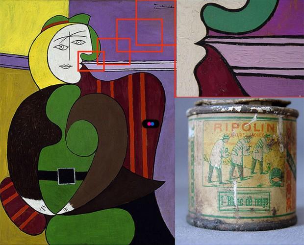 Imagem 'A Poltrona Vermelha' analisada por cientistas carrega tinta de parede; no detalhe, lata da mesma marca usada em quadro (Foto: Divulgação/Instituto de Arte de Chicago)