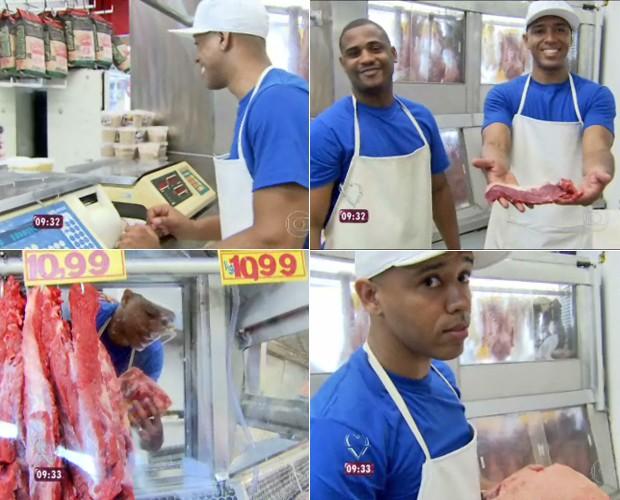Mc Koringa corta e pesa carnes, além de animar colegas de açougue (Foto: Mais Você / TV Globo)