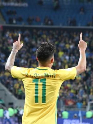 Brasil x Equador Eliminatórias Arena Philippe Coutinho gol