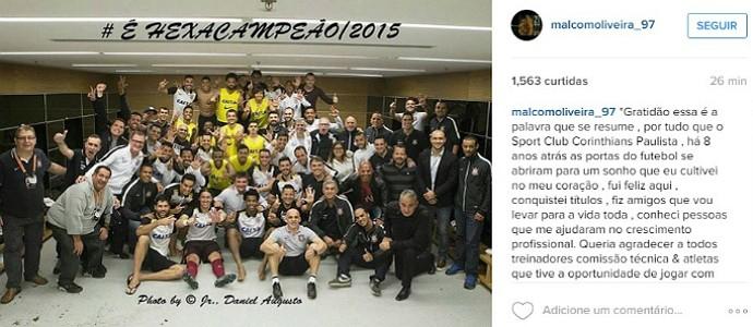 Malcom, que assinará com o Bordeaux, escreveu mensagem de agradecimento no Instagram (Foto: Reprodução/Instagram)
