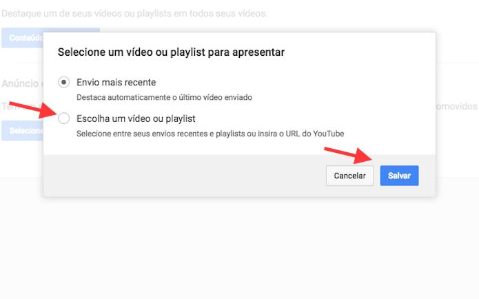 Acesso à página para escolher um vídeo ou playlist para ficar em destaque em um canal do YouTube (Foto: Reprodução/Marvin Costa)