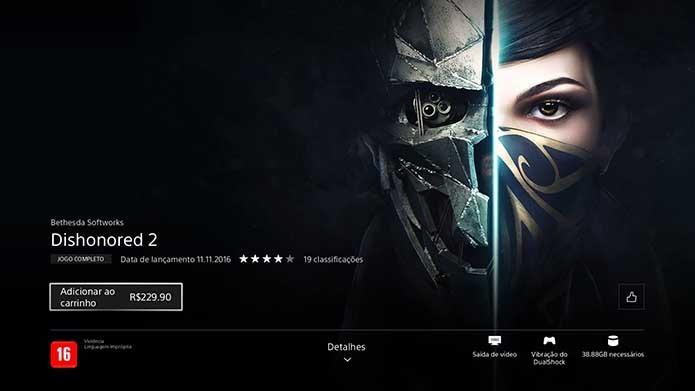 Clique para comprar o Dishonored 2 (Foto: Reprodução/Murilo Molina)
